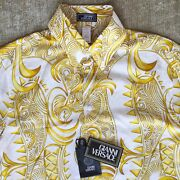 Gianni Versace Ivory And Gold Silk Shirt Baroque Print Size It 48