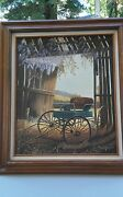 Vintage Red Barn Wagon Oil Painting Signed Em Kelly 87 27x31 Frame