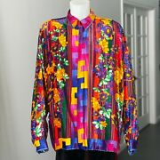 Gianni Versace Silk Velvet Shirt Stripes And Flowers Size It 54 From Fw 1993/94