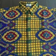 Gianni Versace Menand039s Wool Shirt Plaid And Floral Print Size It 54 From Fw 1993/94