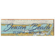 Jensen Beach, Florida Map Sign Printed On Real Wood Dol6-tow6-b-1