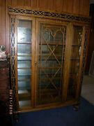Antique Tiger Oak Glass China Display Curio Cabinet Wood Wheels Mirror, Glass