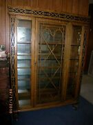Antique Tiger Oak Glass China Display Curio Cabinet Wood Wheels Mirror Glass