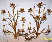 Spectacular Pair Of 2 Light Sconce Golden Wall Lamps Mid-century Lilies Flower