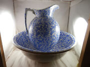 Vintage Pitcher And Wash Basin W And C England Blue And White 14 Bowl 12 Pitcher