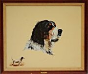 Excellent Sporting Dog Original Oil Painting Portrait Of A English Setter Bart