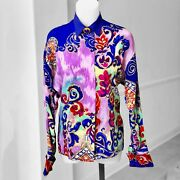 Gianni Versace Womenandrsquos Silk Shirt W/ French Cuffs And Gold Accents Size It 42