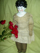 Lovely 19, Antique German, Brunette China Doll W/turned Head And Old Cloth Body