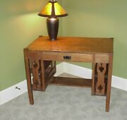 Antique Mission Style Oak Desk Quarter Sawn Library Table Ohio Pick Up Only