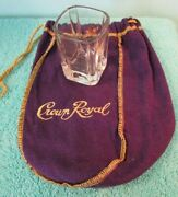Crown Royal Shot Glass And Purple Cloth Bag W Gold Trim And Tie