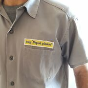 Say Pepsi Please Gray 1960and039s Short Sleeved Work Shirt By King Kole Unique