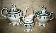 1800's Footed Antique Tea Set Including Tea Pot, Covered Sugar And Creamer