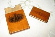 Wooden Laquered Victorian Calling Card Case Made In England With Robert Burns