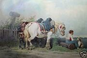 Theodore Fort France B.1810 Original Watercolor Painting Horses Dog And Boy