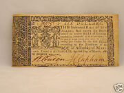 Fine 245 Yr Old Colonial Currency Note 6 March 1, 1770 - Annapolis, Maryland