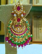 Bollywood Style Dangling Real Pearl Ruby Emerald Earring Stud Bridal Jewelry Set