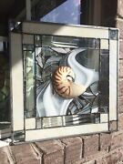 Abstract Stained Glass Window Nautilus Sea Shell Beach Tropical Suncatcher Panel
