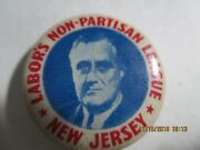1940 Litho Button Pin 7/8 Franklin Roosevelt New Jersey Fdr-140