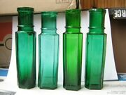 Set Of 4 Vintage Old Antique Rare Ww1 Period Emerald Green Narrow Glass Bottles