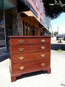 English Mahogany Chippendale Four Drawer Chest With Brass Hardware 18thc