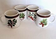 4 Sakura Holiday Greens Mugs Coffee Teacups Cup Stoneware Dishes Plaid Red Holly