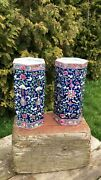 A Fantastic Vintage Pair Of Chinese Oriental Colbolt Blue And Pink Vases