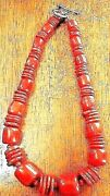 Rare Vintage Heavy Red Coral Barrel And Sliced Beaded Sterling Toggle Necklace Th