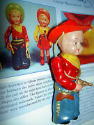Two Vintage Strung Celluloid Doll Cowboy And Boy Scout Toys Hasada Minoru Japan