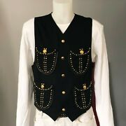 Gianni Versace Vest Wool Leather And Studded Size It 48 Miami Collection 1993
