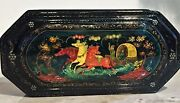 Estate Sale - Genuine Russian Lacquer Box - Handmade - Horse And Carriage