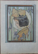 Original 1907 Antique Gordon Ross Color And Metallic Ink Illustration Awesome