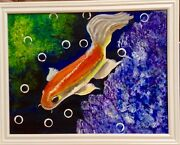 The Gold Fish 16x20 Original Acrylic Painting Direct From The Artist. Signed