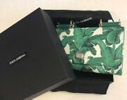 Dolce And Gabbana Wallet Shoulder Chain Bag Purse Pouch Banana Leaf Green Woman