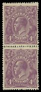 Four Pence Violet Plate 2 Vertical Pair [r6/12] With 'four Pence' Early State..