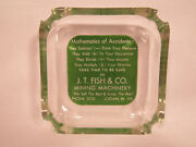 Vintage J.t. Fish And Co. Mining Machinery Logan West Virginia Glass Ad Ashtray