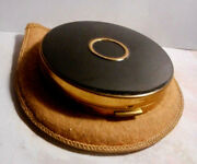 Charles Of The Ritz New York Vintage Black Compact With Mirror,powder,puff,pouch