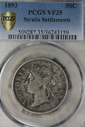 Rare Date 1893 Straits Settlement Fifty Cents Silver Coin Pcgs Vf35