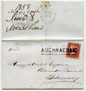 1858 Cover With 1d Rose-red Tied By The Auchnacraig Type Iii Scots Local H/s