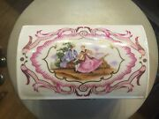 Limoges Dresser Box With Victorian Courting Scenes - Hinged Lid Hand Paint