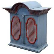 Small Antique Swedish Baroque Painted Pine Hanging Cabinet 18th Century
