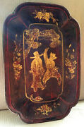 Antique Chinese Wood Lacquer Tray Asian Bowl Plate Hand Painted