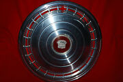 Vintage 1978 Cadillac 16 Inch Hubcap Good Condition Red Emblem Free Shipping