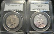 2000-s Pcgs Pr70dcam Silver And Clad Kennedy Half = 2 Coins
