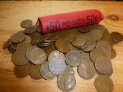 Lincoln Wheat Penny Roll Mixed Teens To 1950s Including Indian Head Cent