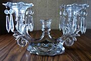Vintage Art Deco 3 Candle Crystal Candelabra W Bobeches And 16 Crystal Prisms