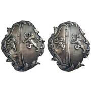 Rare Pair Antique English George Iii Sheffield Plate Armorial Carriage Plaques