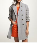 Nwt Jcrew Mackintosh Rousay Trench Coat In Gingham L Black Ivory 39829 Rare