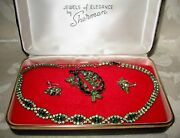 Sherman Jewels Of Elegance - Signed Sherman Necklace, Brooch And Earrings Set