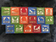 18 Antique Vintage Wooden Animal Alphabet Blocks- Fairy Tales Numbers