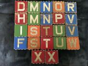 22 Antique Vintage Wooden Grooved Alphabet Blocks- Letters Animals Objects